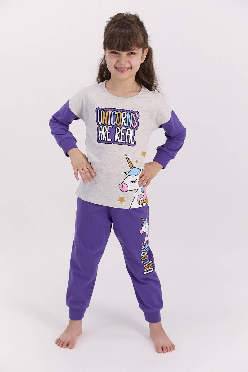 RolyPoly - RolyPoly Unıcorns Are Real Bejmelanj Kız Çocuk Pijama Takımı