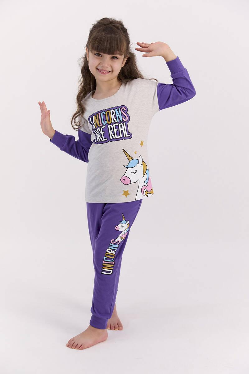 RolyPoly - RolyPoly Unıcorns Are Real Bejmelanj Kız Çocuk Pijama Takımı (1)