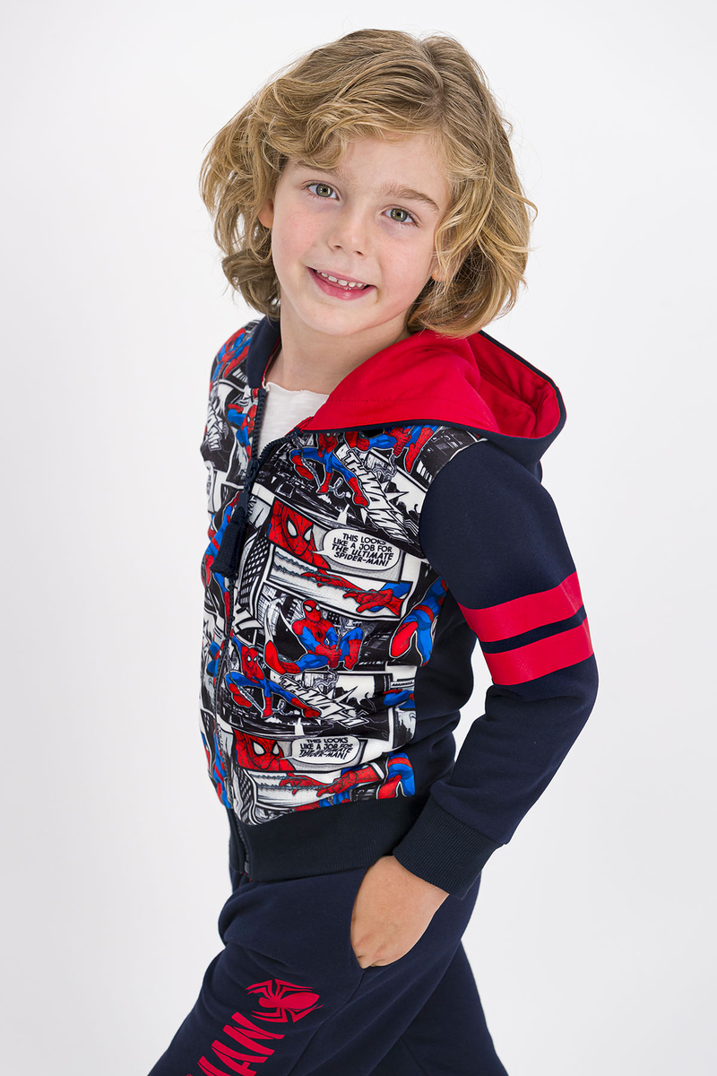 Spider Man - Spider Man Lisanslı Lacivert Erkek Çocuk Kapüşonlu Eşofman Takımı (1)