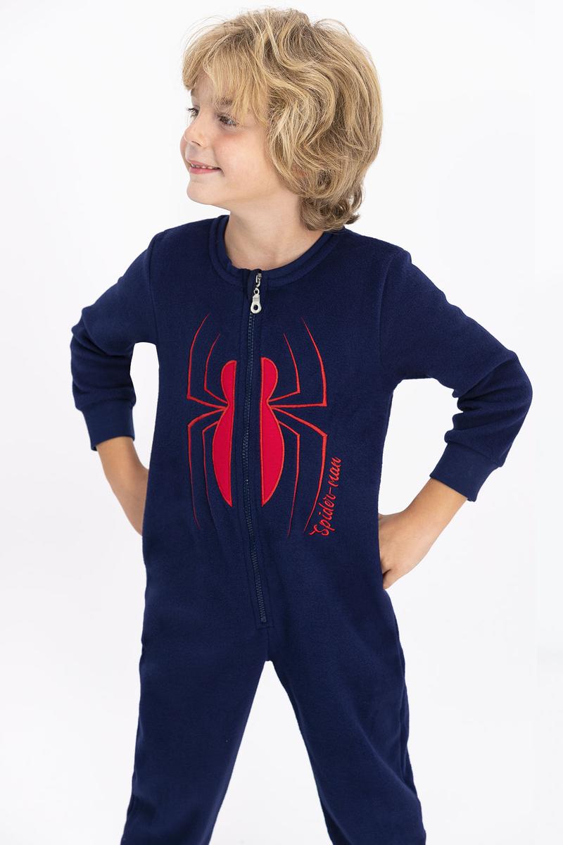 Spider Man - Spiderman Lisanslı Lacivert Erkek Çocuk Polar Tulum (1)
