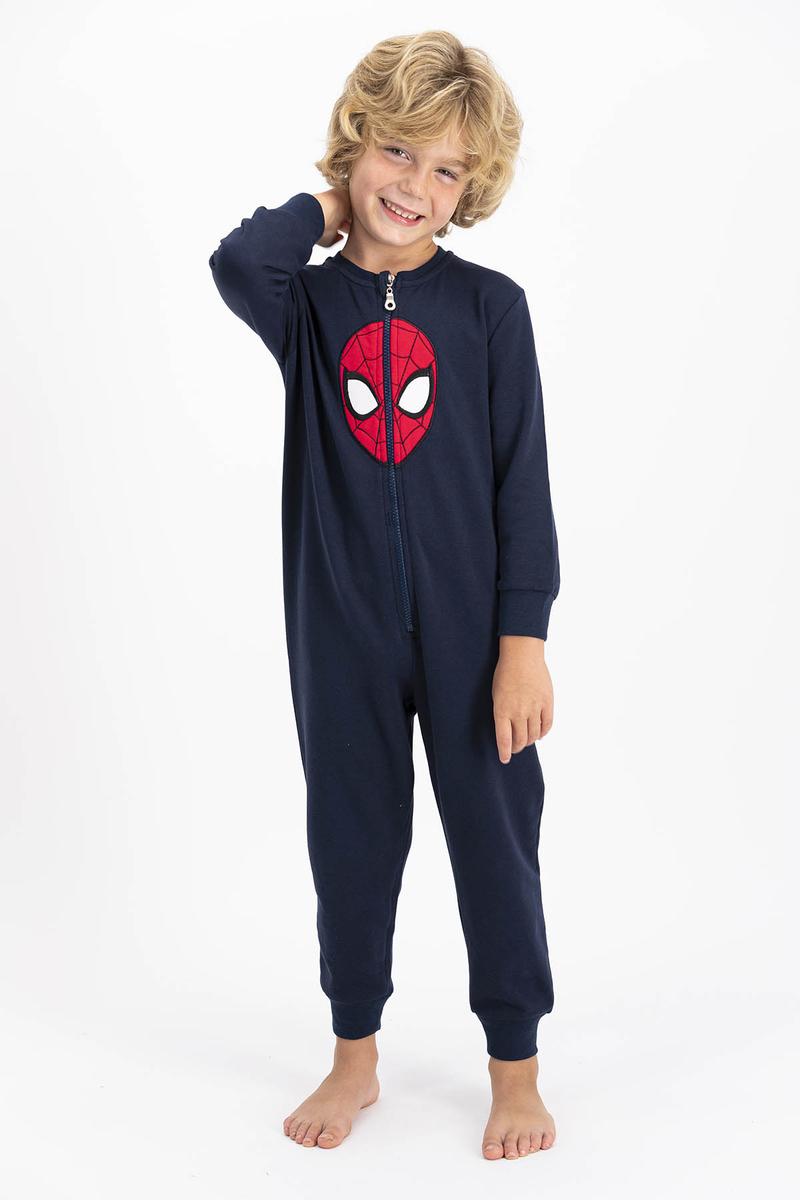 Spider Man - Spiderman Lisanslı Lacivert Erkek Çocuk Polar Tulum