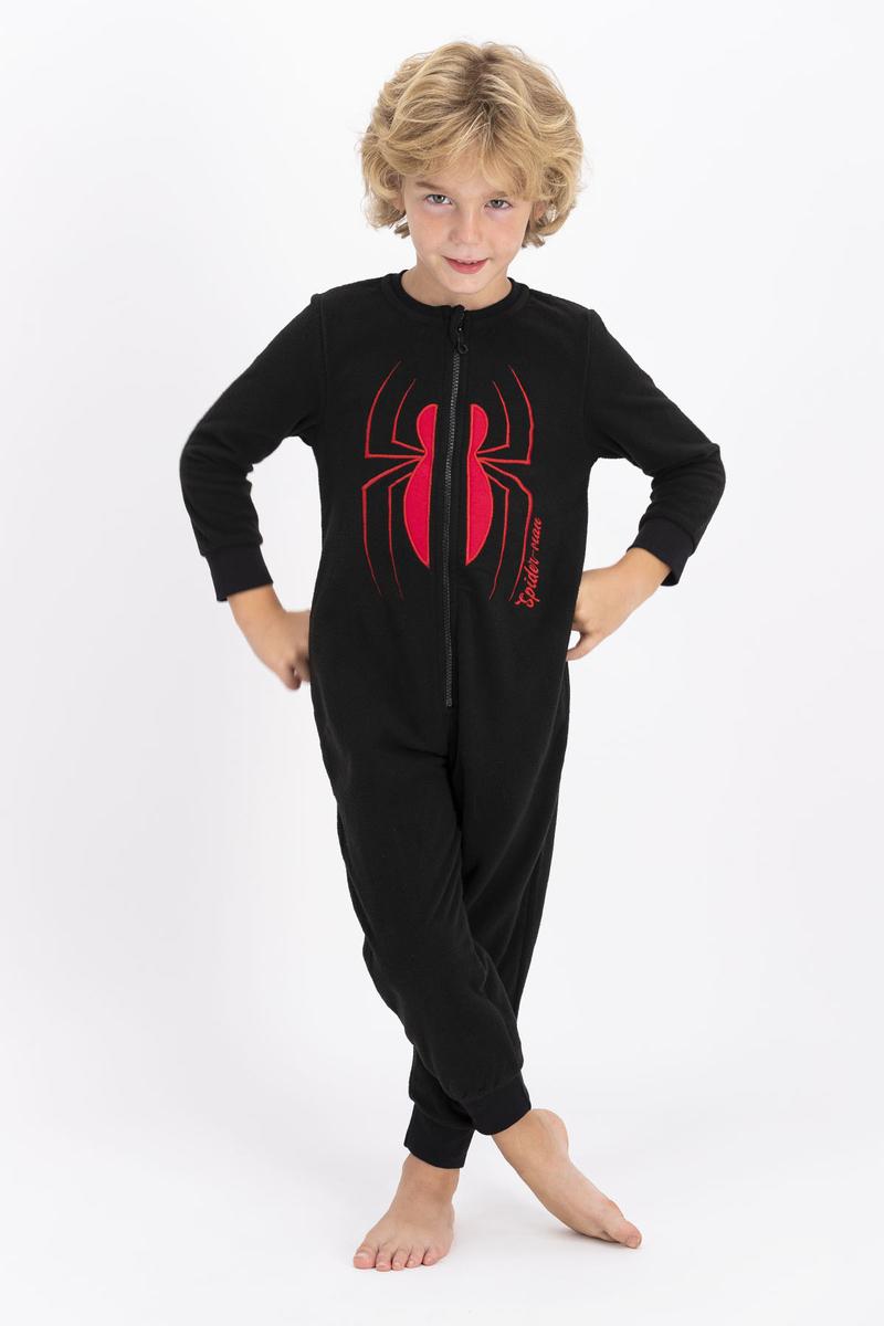 Spider Man - Spiderman Lisanslı Siyah Erkek Çocuk Polar Tulum