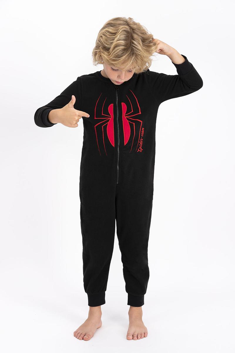 Spider Man - Spiderman Lisanslı Siyah Erkek Çocuk Polar Tulum (1)