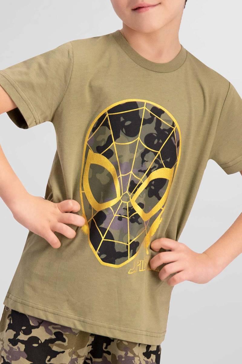 Spider Man - Spider Man Lisanslı Açık Haki Erkek Çocuk Pijama Takımı