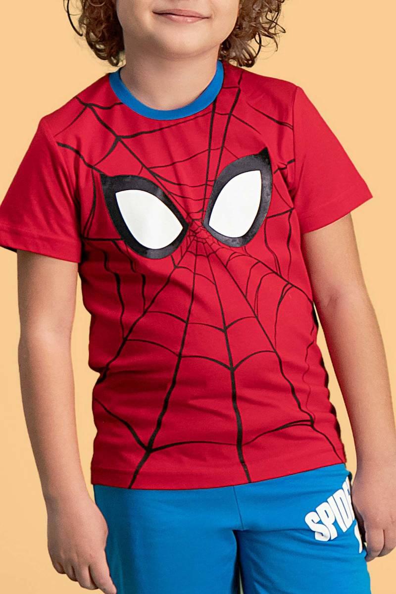 Spider Man - Spider Man Lisanslı Kırmızı Erkek Çocuk Bermuda Takım (1)