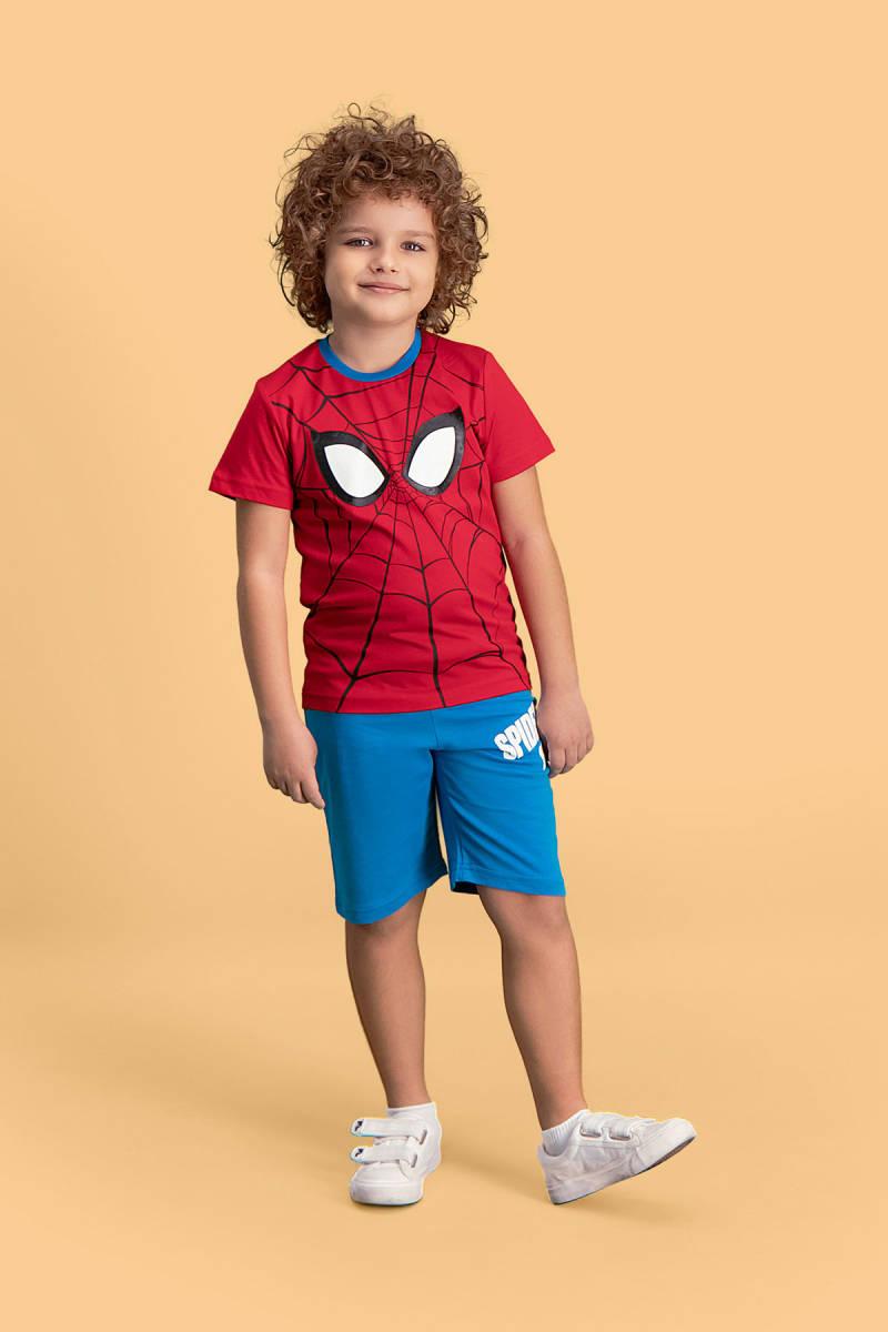 Spider Man - Spider Man Lisanslı Kırmızı Erkek Çocuk Bermuda Takım