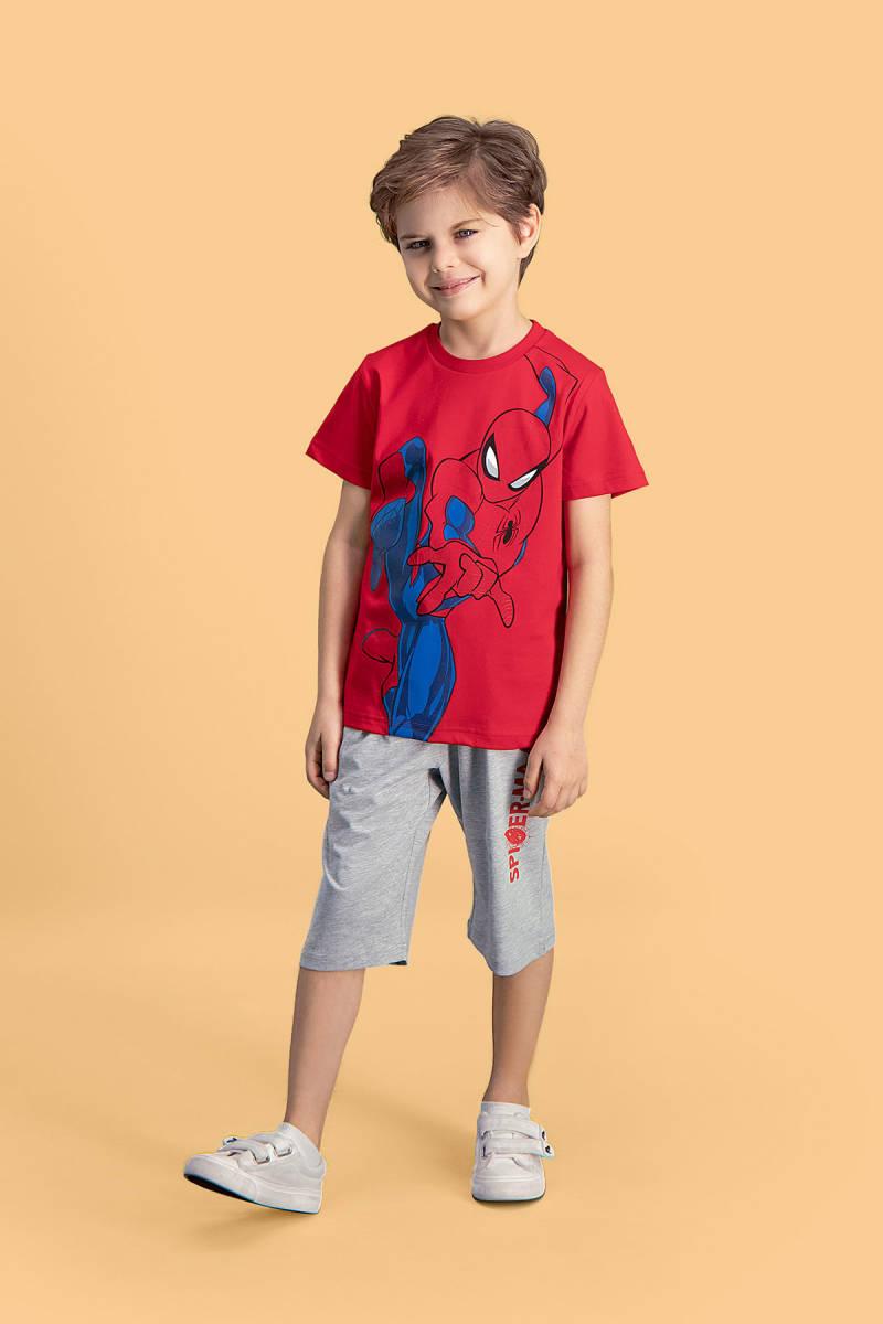 Spider Man - Spider Man Lisanslı Kırmızı Erkek Çocuk Kapri Takım