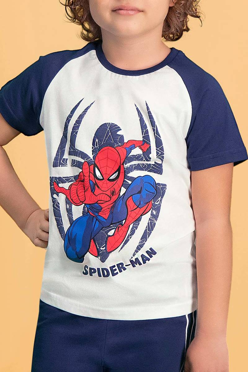 Spider Man - Spider Man Lisanslı Krem Erkek Çocuk Kapri Takım (1)