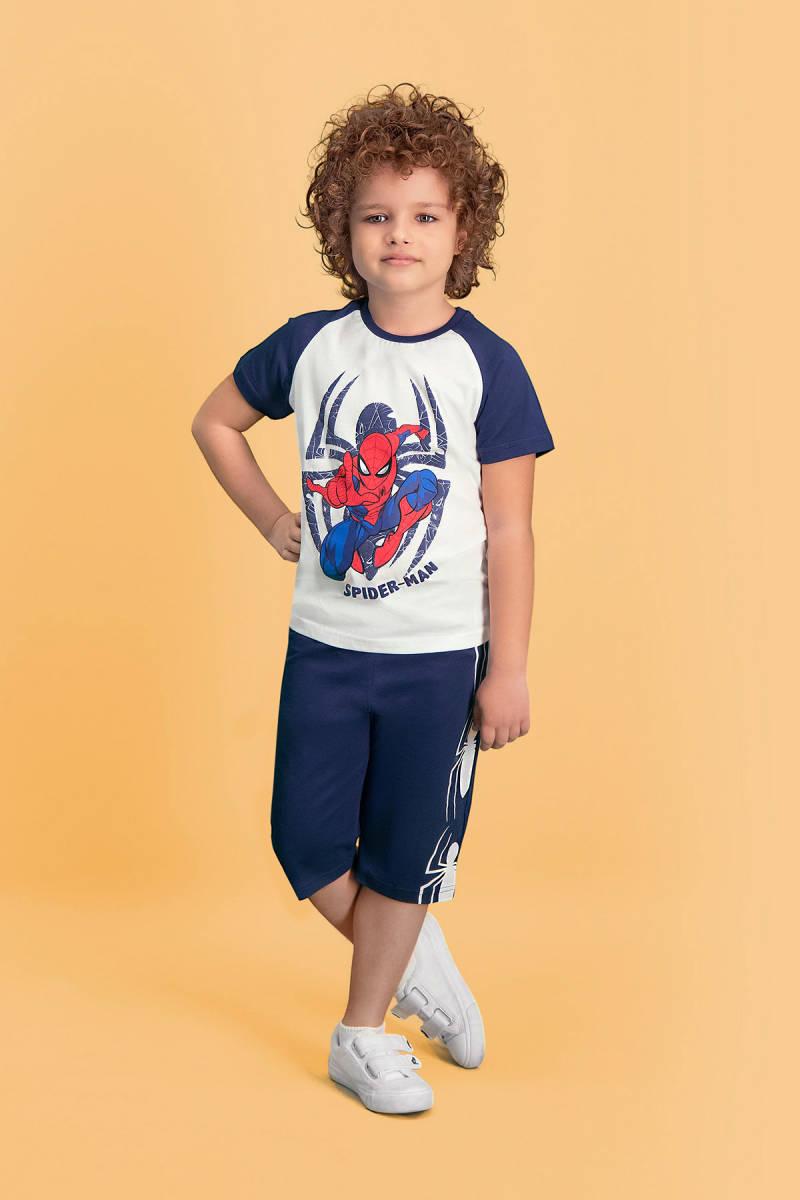 Spider Man - Spider Man Lisanslı Krem Erkek Çocuk Kapri Takım