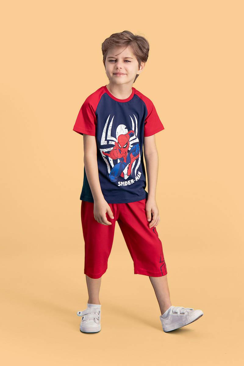 Spider Man - Spider Man Lisanslı Lacivert Erkek Çocuk Kapri Takım