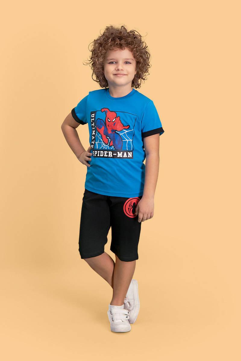 Spider Man - Spider Man Lisanslı Mavi Erkek Çocuk Kapri Takım