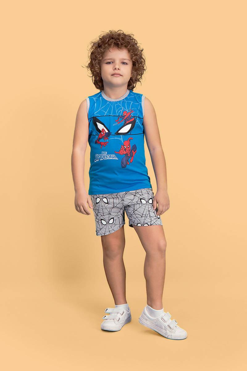 Spider Man - Spider Man Lisanslı Mavi Erkek Çocuk Şort Takım
