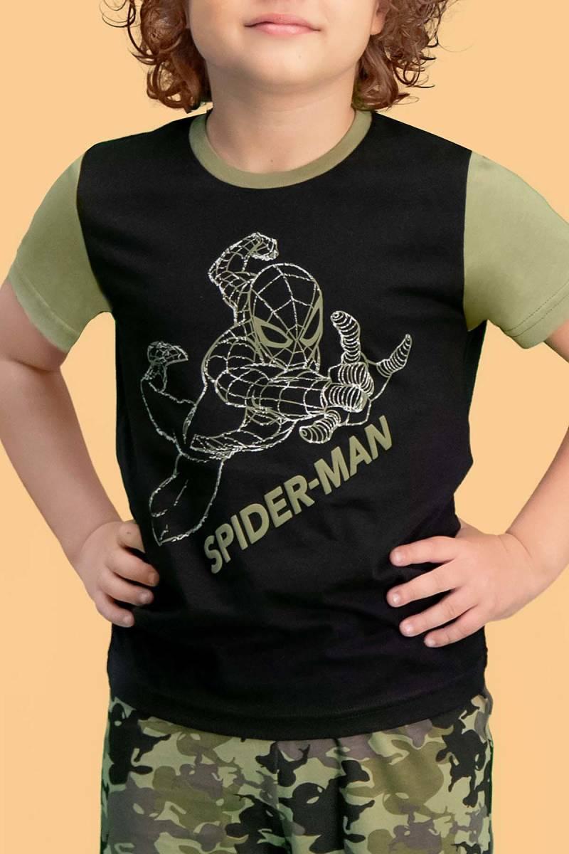 Spider Man - Spider Man Lisanslı Siyah Erkek Çocuk Bermuda Takım (1)