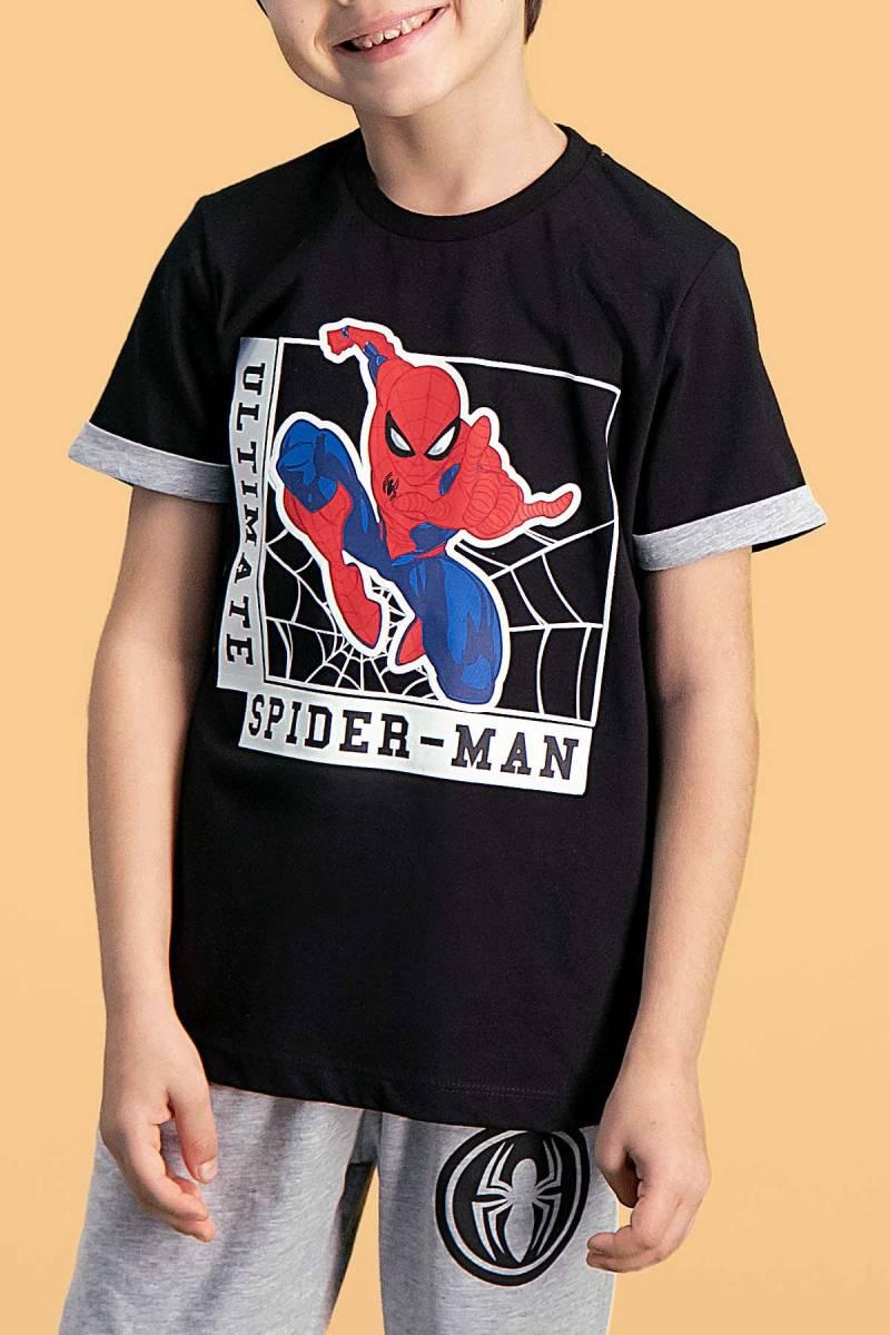 Spider Man - Spider Man Lisanslı Siyah Erkek Çocuk Kapri Takım (1)