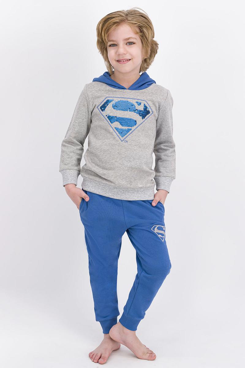 Superman - Superman Lisanslı Grimelanj Erkek Çocuk Payetli Kapüşonlu Eşofman Takımı