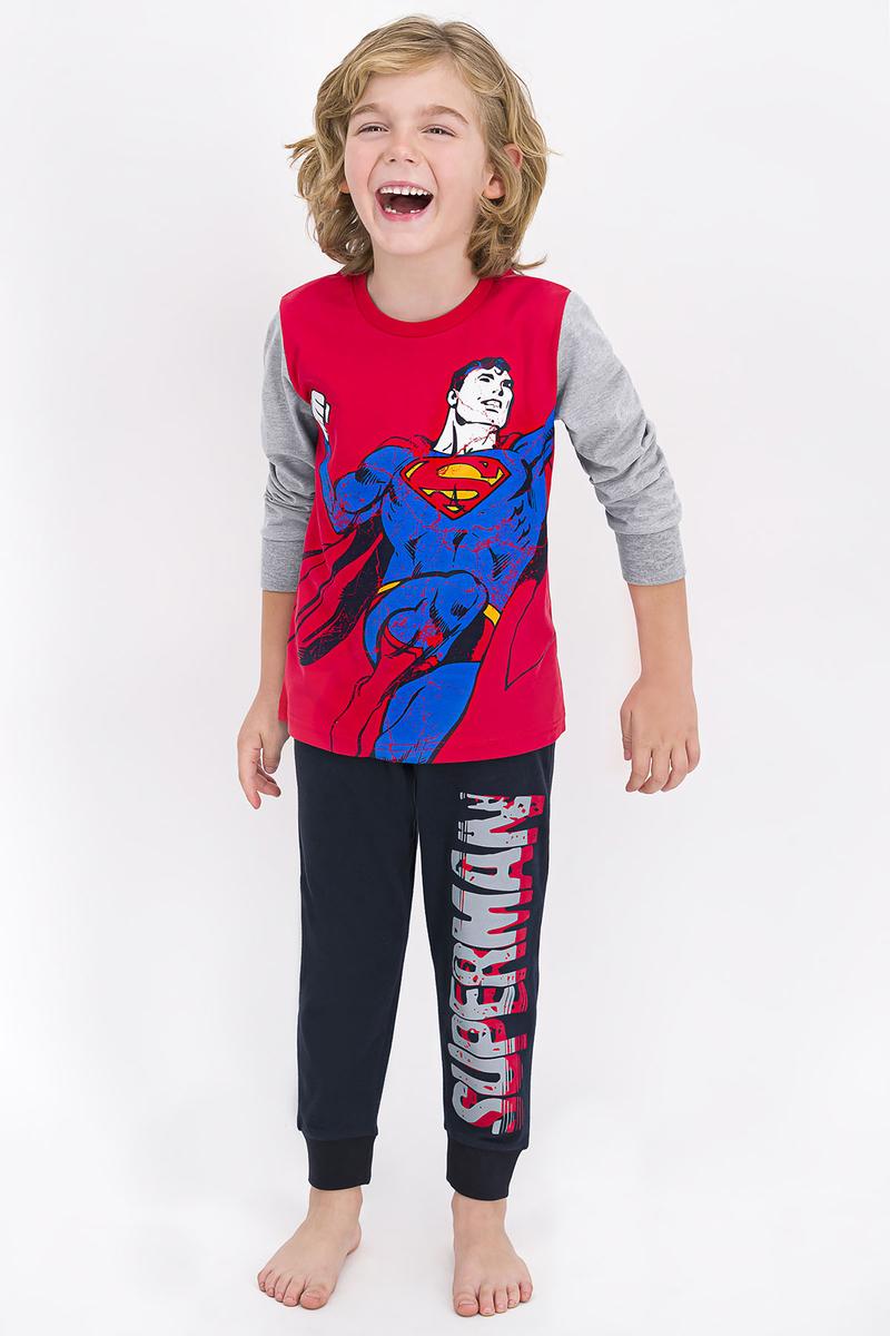 Superman - Superman Lisanslı Açık Kırmızı Erkek Çocuk Pijama Takımı