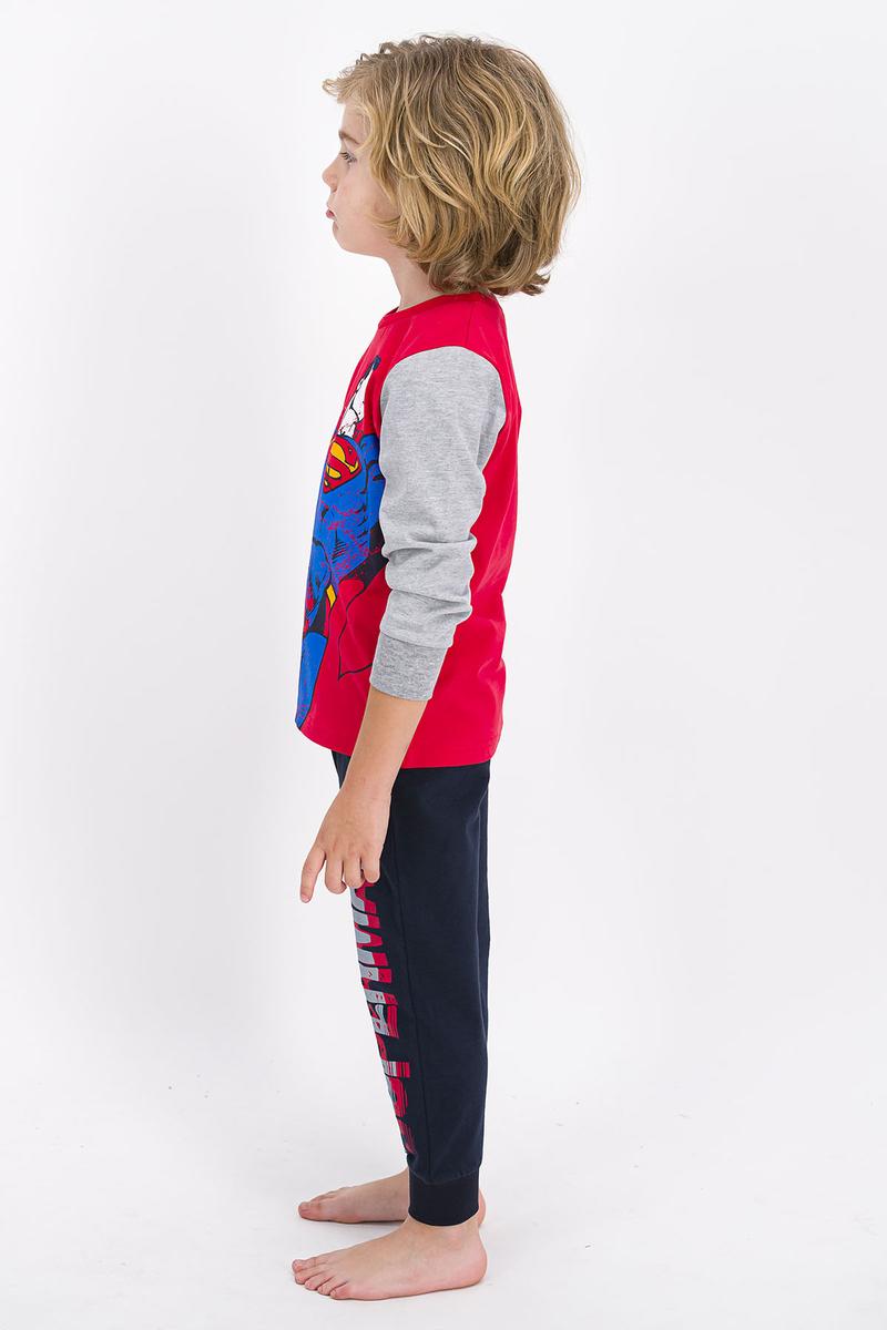 Superman - Superman Lisanslı Açık Kırmızı Erkek Çocuk Pijama Takımı (1)