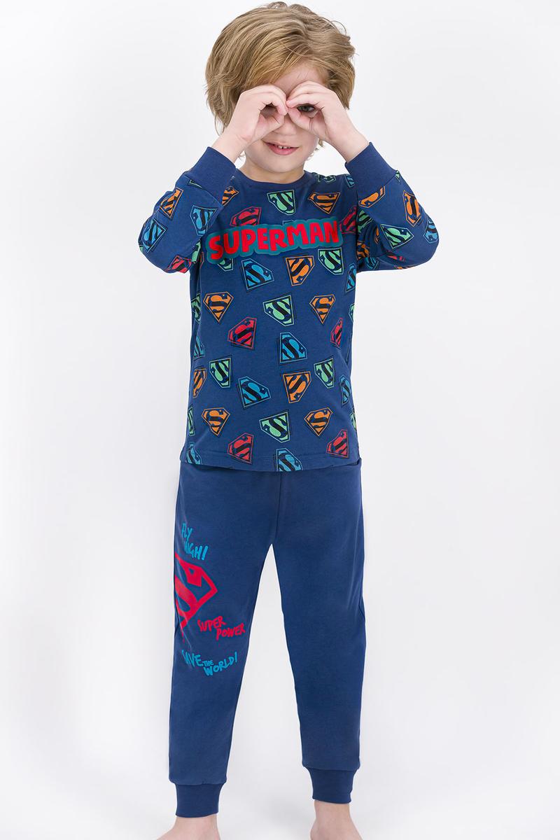 Superman - Superman Lisanslı Koyu İndigo Erkek Çocuk Pijama Takımı