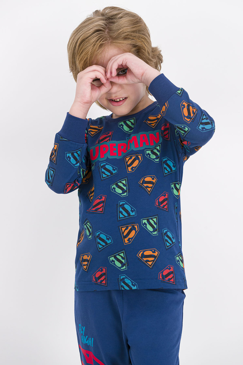 Superman - Superman Lisanslı Koyu İndigo Erkek Çocuk Pijama Takımı (1)