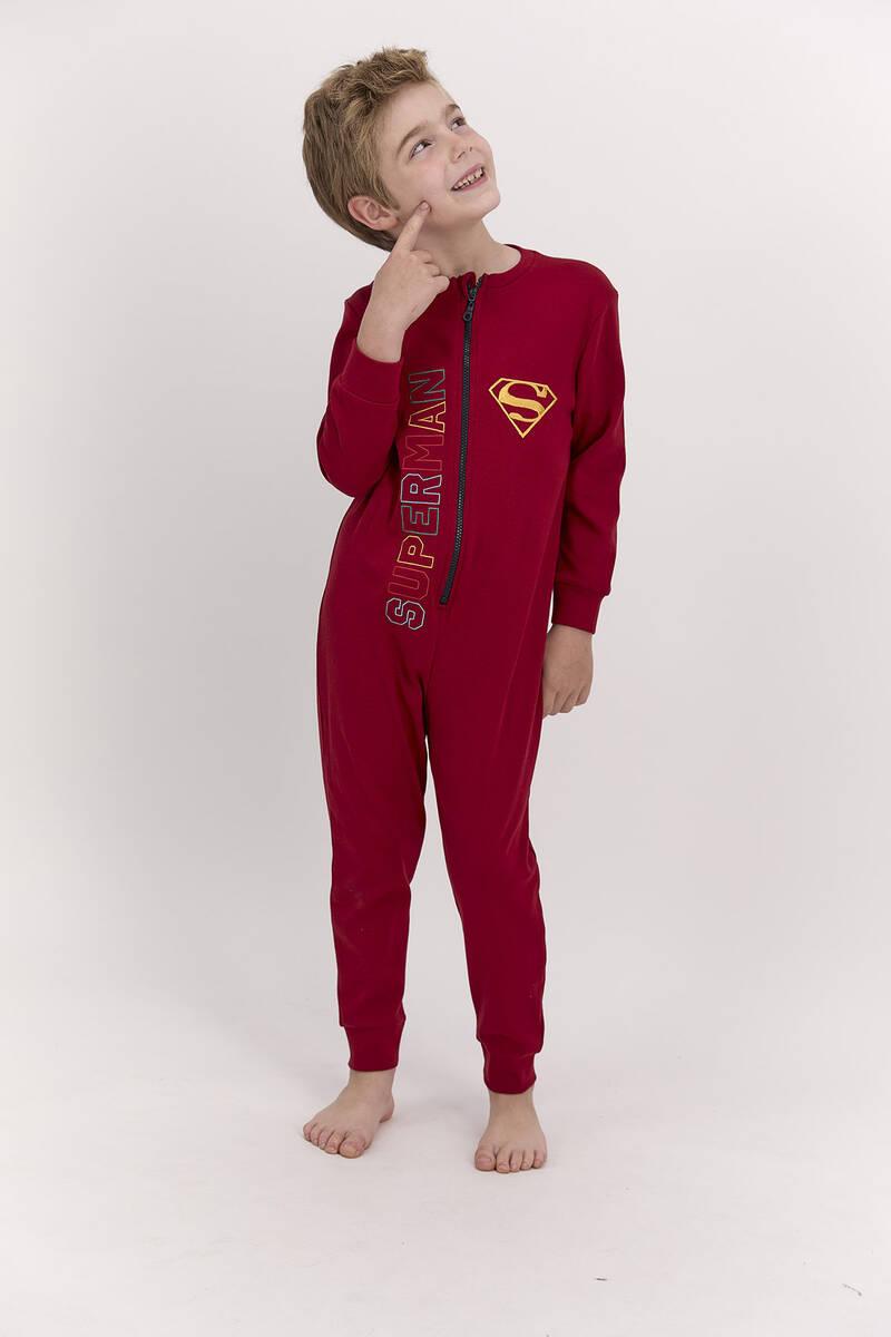 SuperMan - Superman Lisanslı Bordo Erkek Çocuk Fermuarlı Tulum