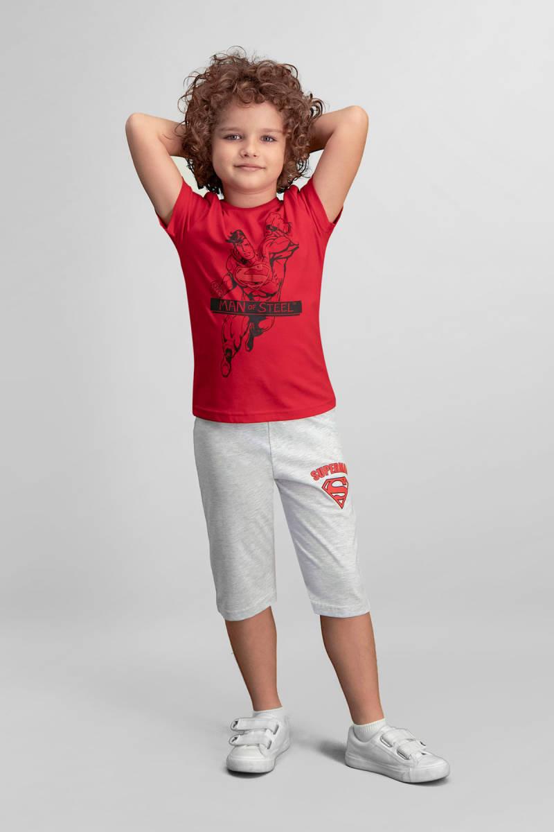 Superman - Superman Lisanslı Kırmızı Erkek Çocuk Kapri Takım