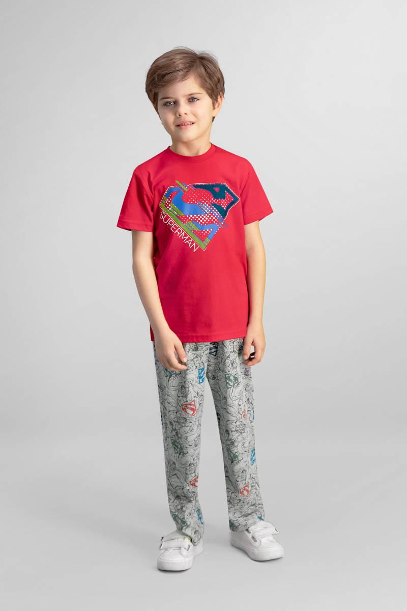 Superman - Superman Lisanslı Kırmızı Erkek Çocuk Pijama Takımı