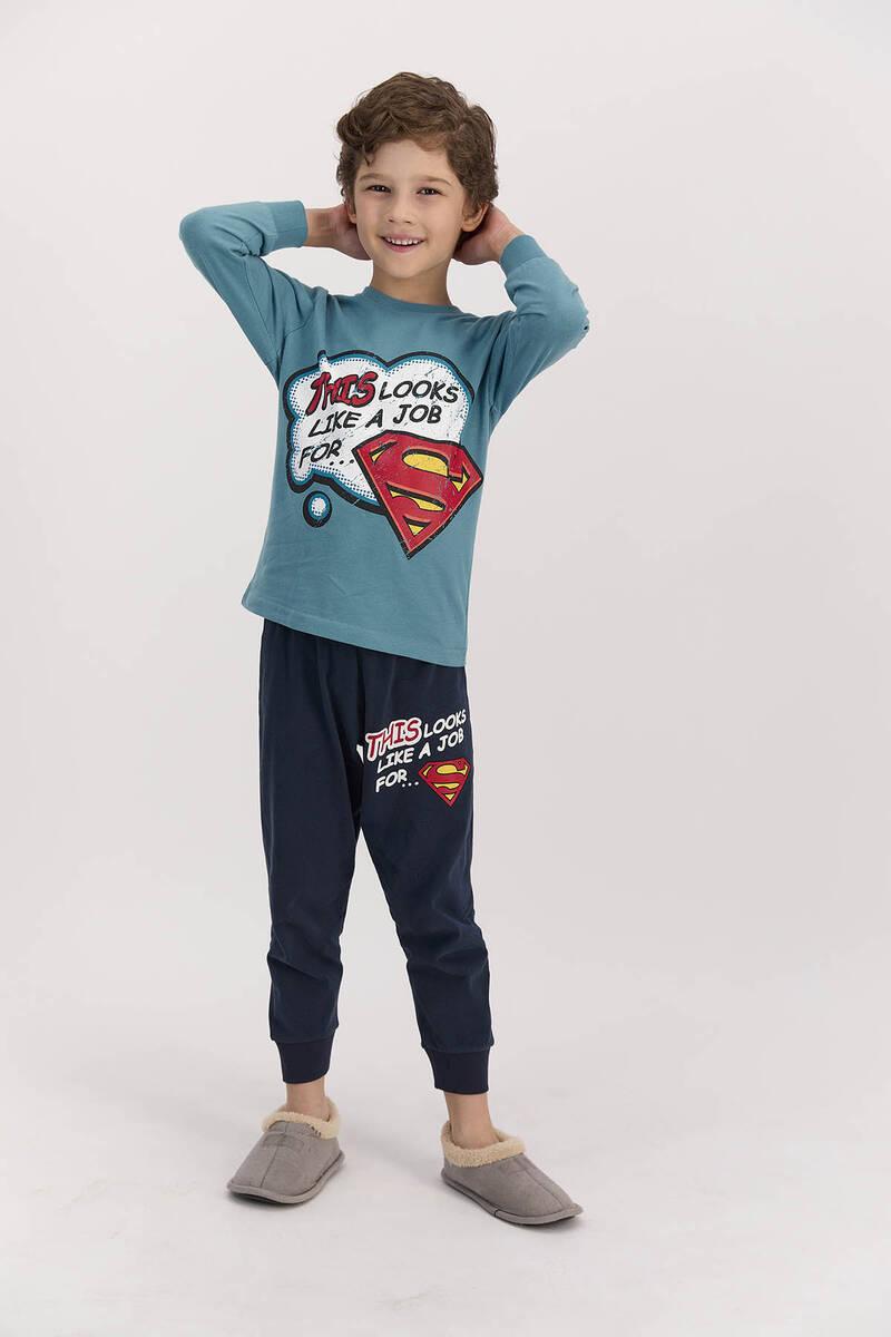 SuperMan - Superman Lisanslı Koyu Petrol Erkek Çocuk Uzun Kol Pijama Takımı (1)