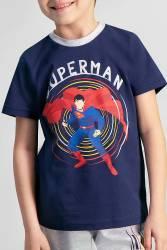Superman Lisanslı Lacivert Erkek Çocuk Bermuda Takım - Thumbnail