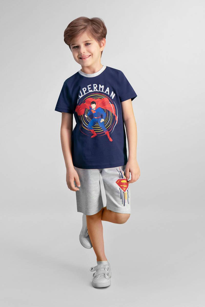 Superman - Superman Lisanslı Lacivert Erkek Çocuk Bermuda Takım
