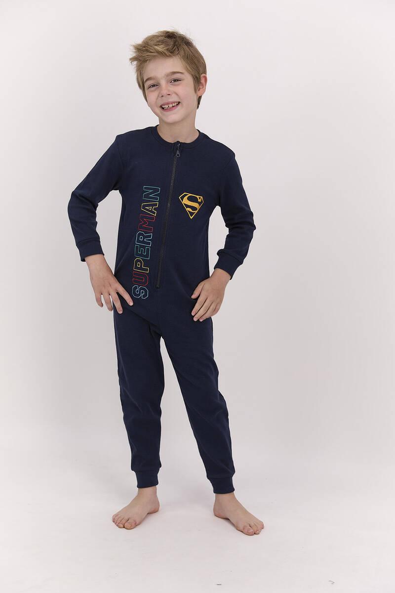 SuperMan - Superman Lisanslı Lacivert Erkek Çocuk Fermuarlı Tulum