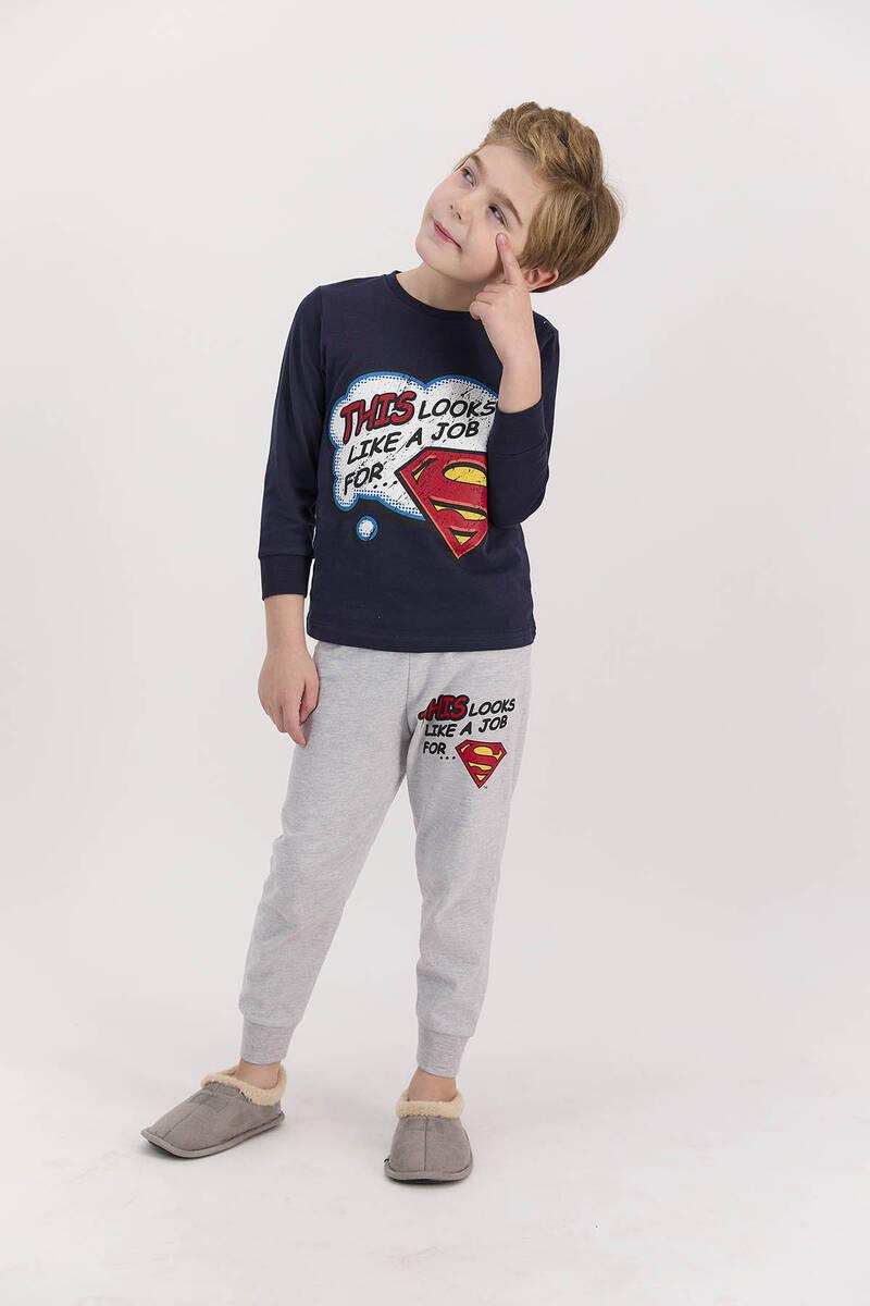 SuperMan - Superman Lisanslı Lacivert Erkek Çocuk Uzun Kol Pijama Takımı