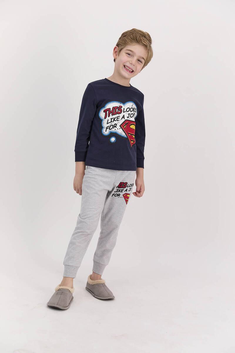 SuperMan - Superman Lisanslı Lacivert Erkek Çocuk Uzun Kol Pijama Takımı (1)
