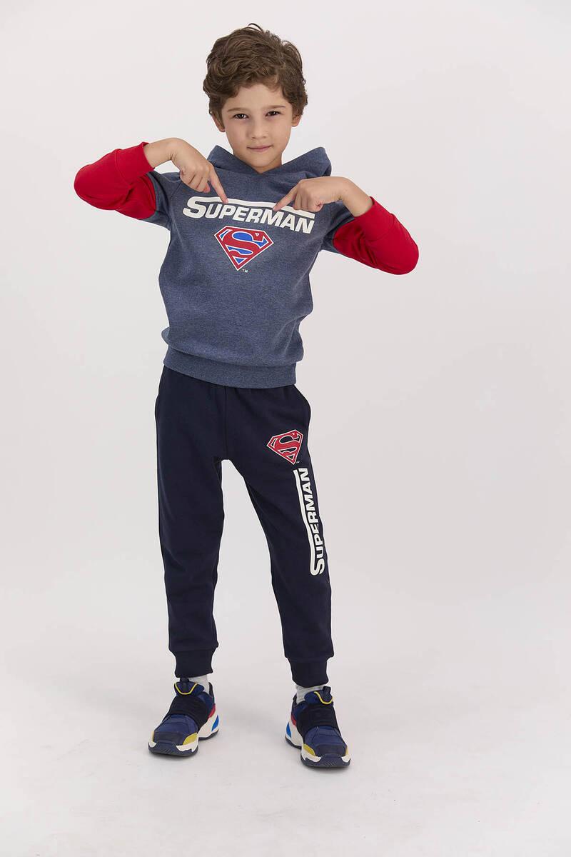 SuperMan - Superman Lisanslı Lacivertmelanj Erkek Çocuk Kapşonlu Pijama Takımı