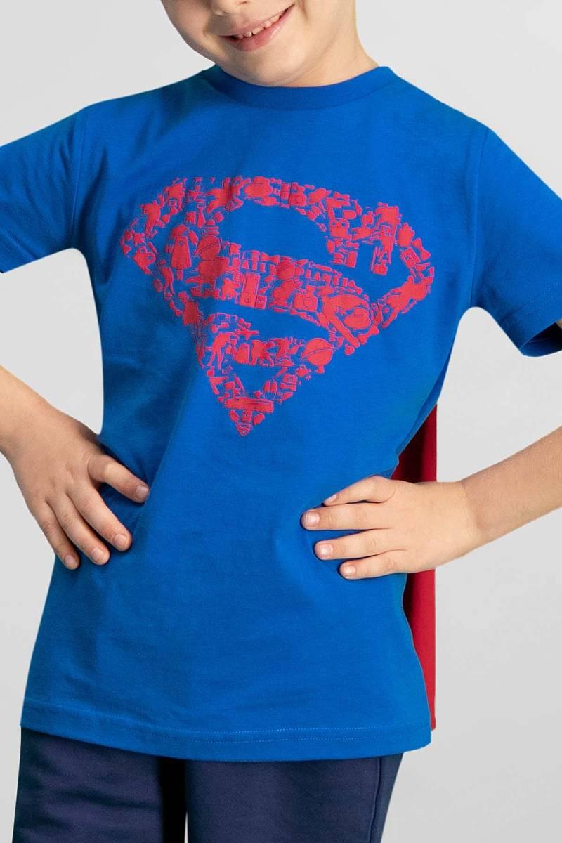 Superman - Superman Lisanslı Saks Mavi Erkek Çocuk Bermuda Takım (1)