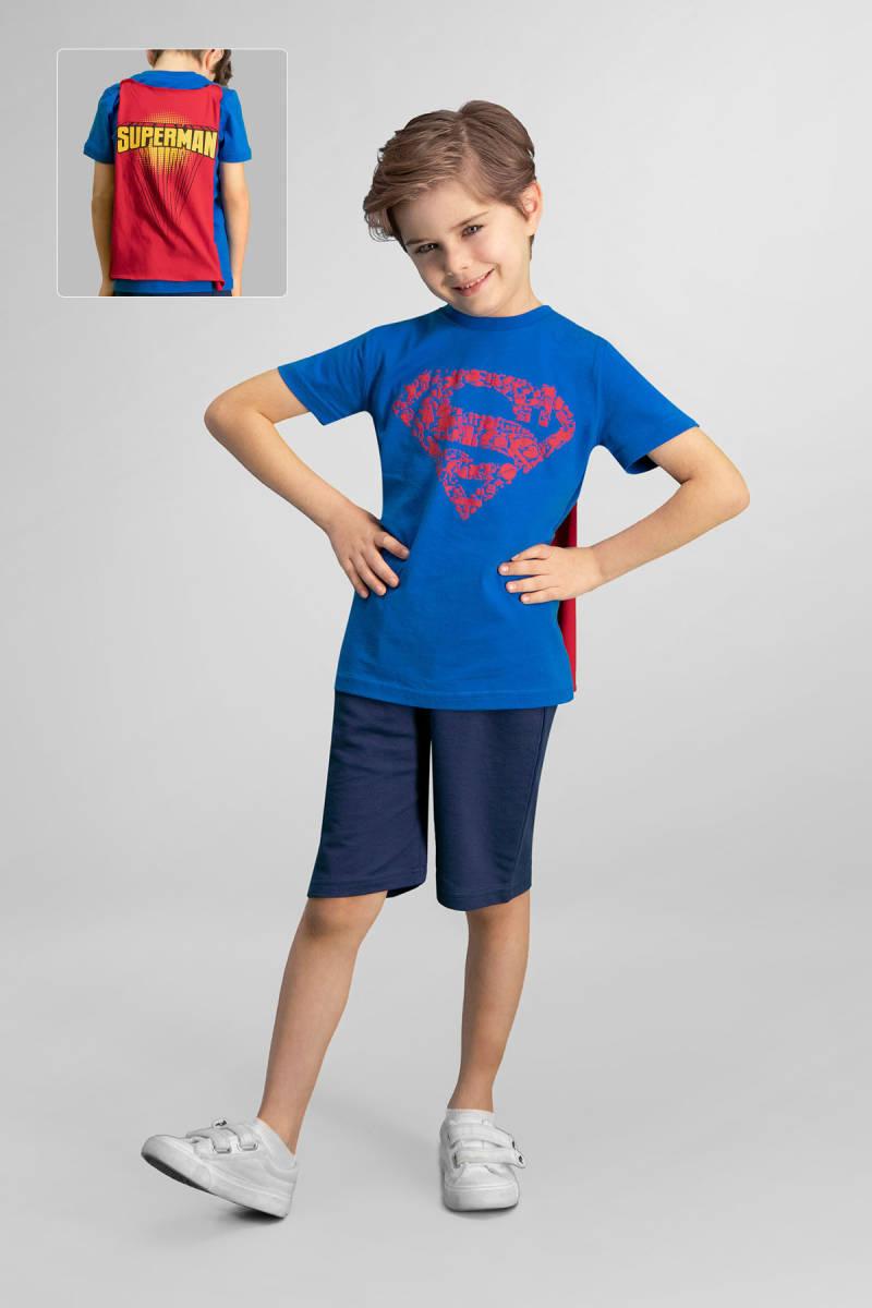Superman - Superman Lisanslı Saks Mavi Erkek Çocuk Bermuda Takım