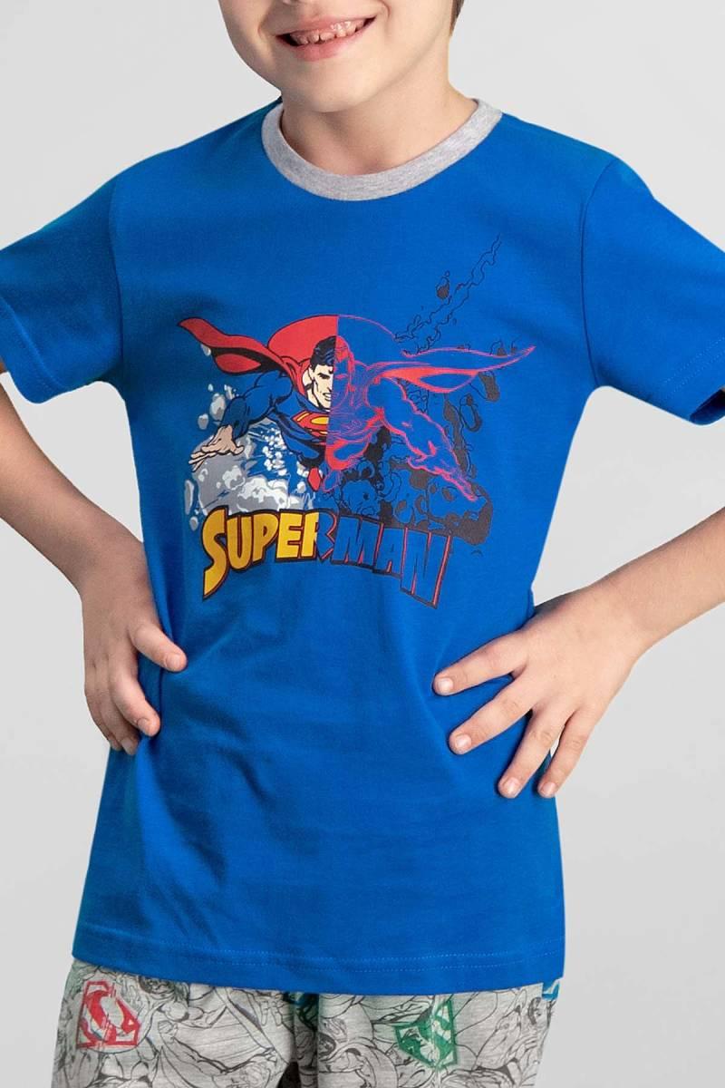 Superman - Superman Lisanslı Saks Mavi Erkek Çocuk Kapri Takım (1)