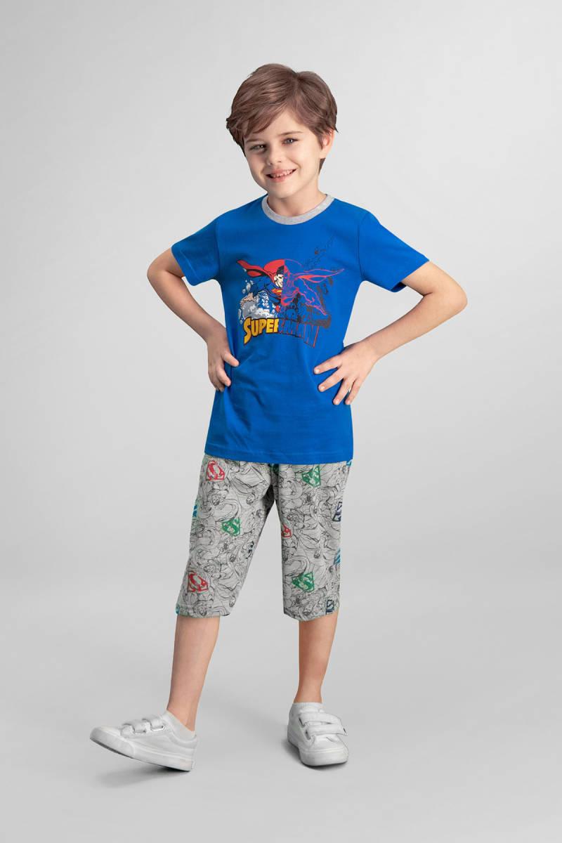 Superman - Superman Lisanslı Saks Mavi Erkek Çocuk Kapri Takım