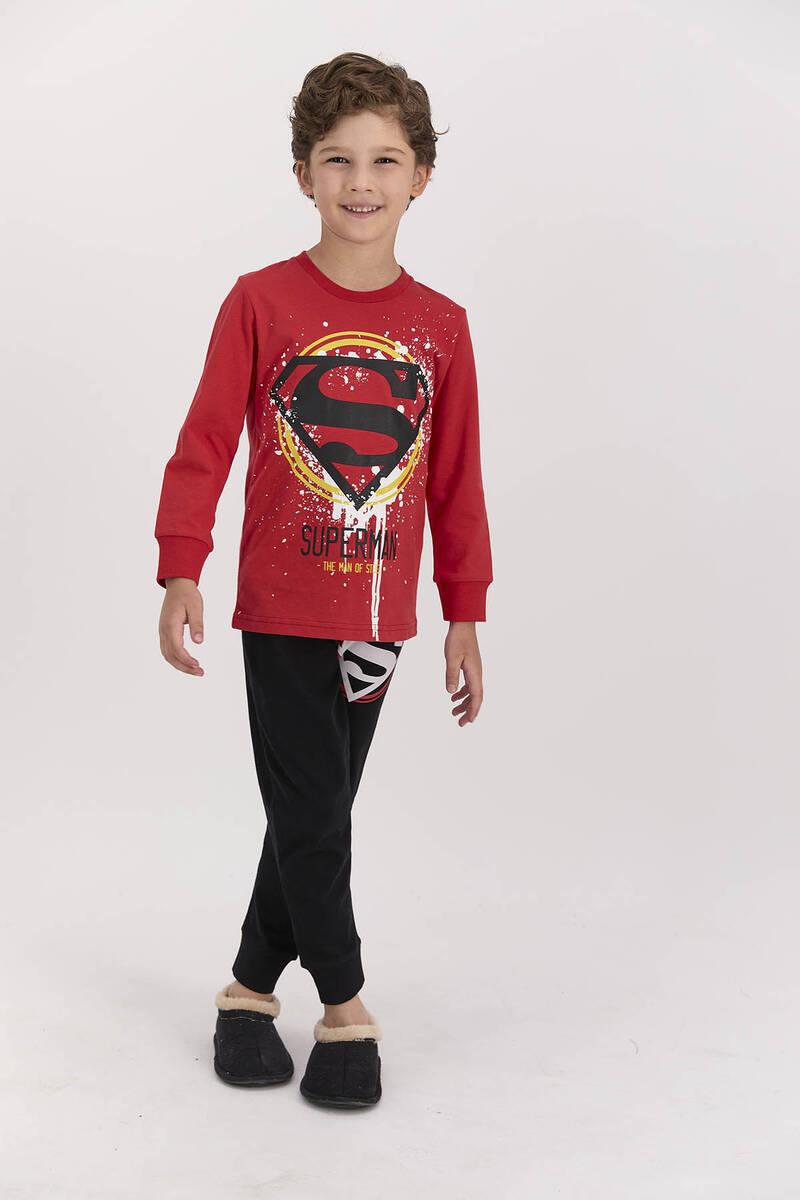 SuperMan - Superman Lisanslı The Man Of Street Kırmızı Erkek Çocuk Pijama Takımı