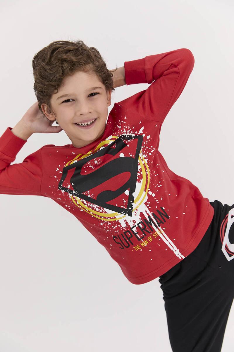 SuperMan - Superman Lisanslı The Man Of Street Kırmızı Erkek Çocuk Pijama Takımı (1)