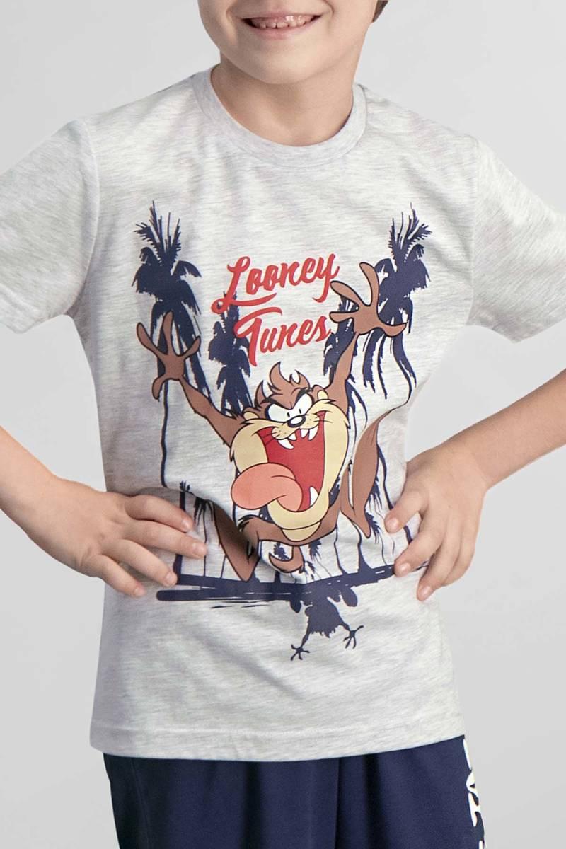 Looney Tunes - Tazmanya Lisanslı Açık Gri Erkek Çocuk Pijama Takımı (1)