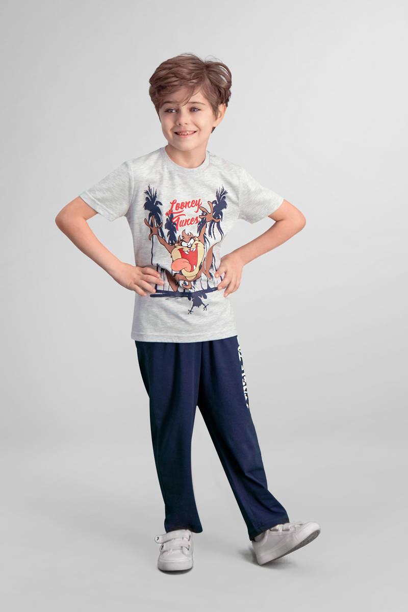 Looney Tunes - Tazmanya Lisanslı Açık Gri Erkek Çocuk Pijama Takımı