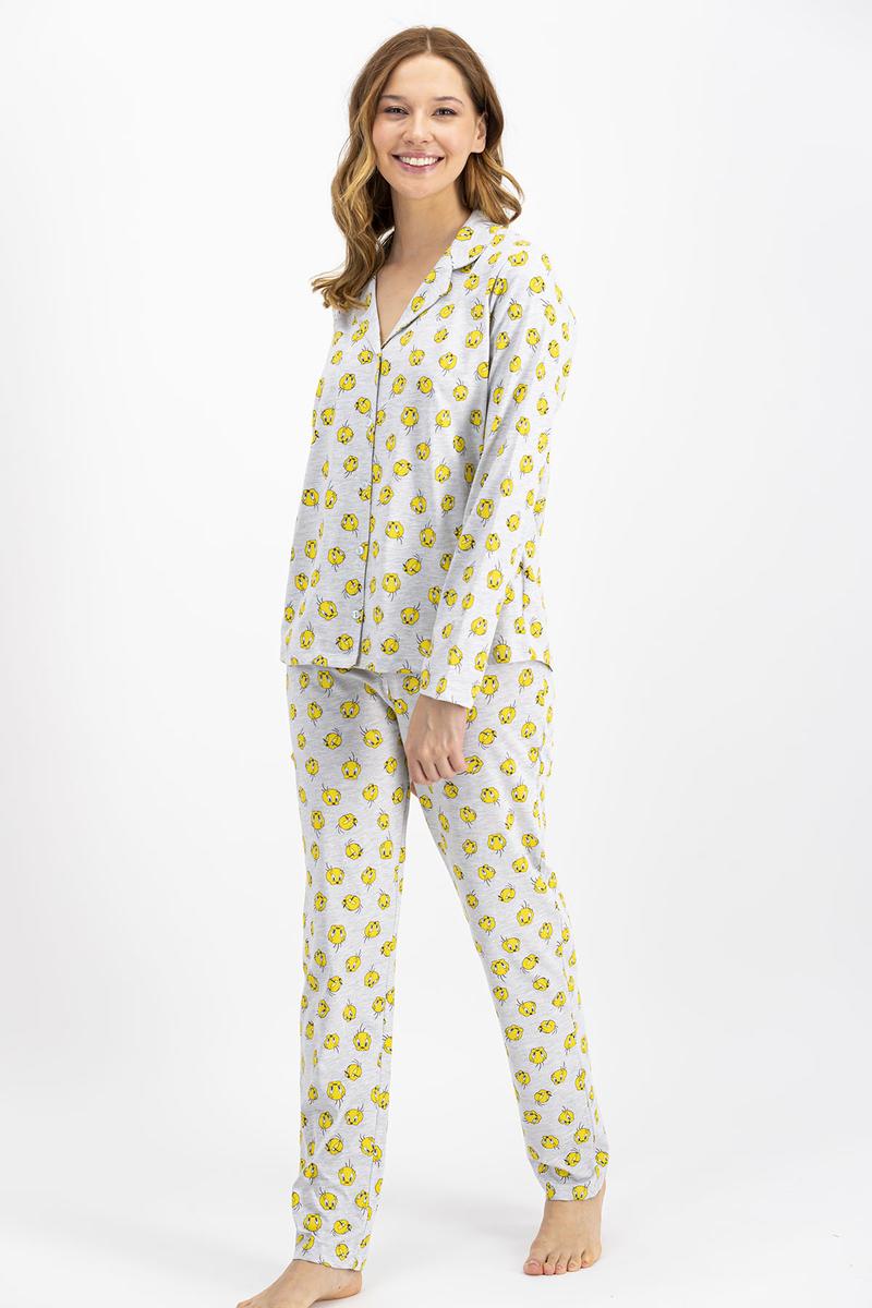 Tweety - Tweety Lisanslı Gri Kadın Düğmeli Gömlek Pijama Takımı