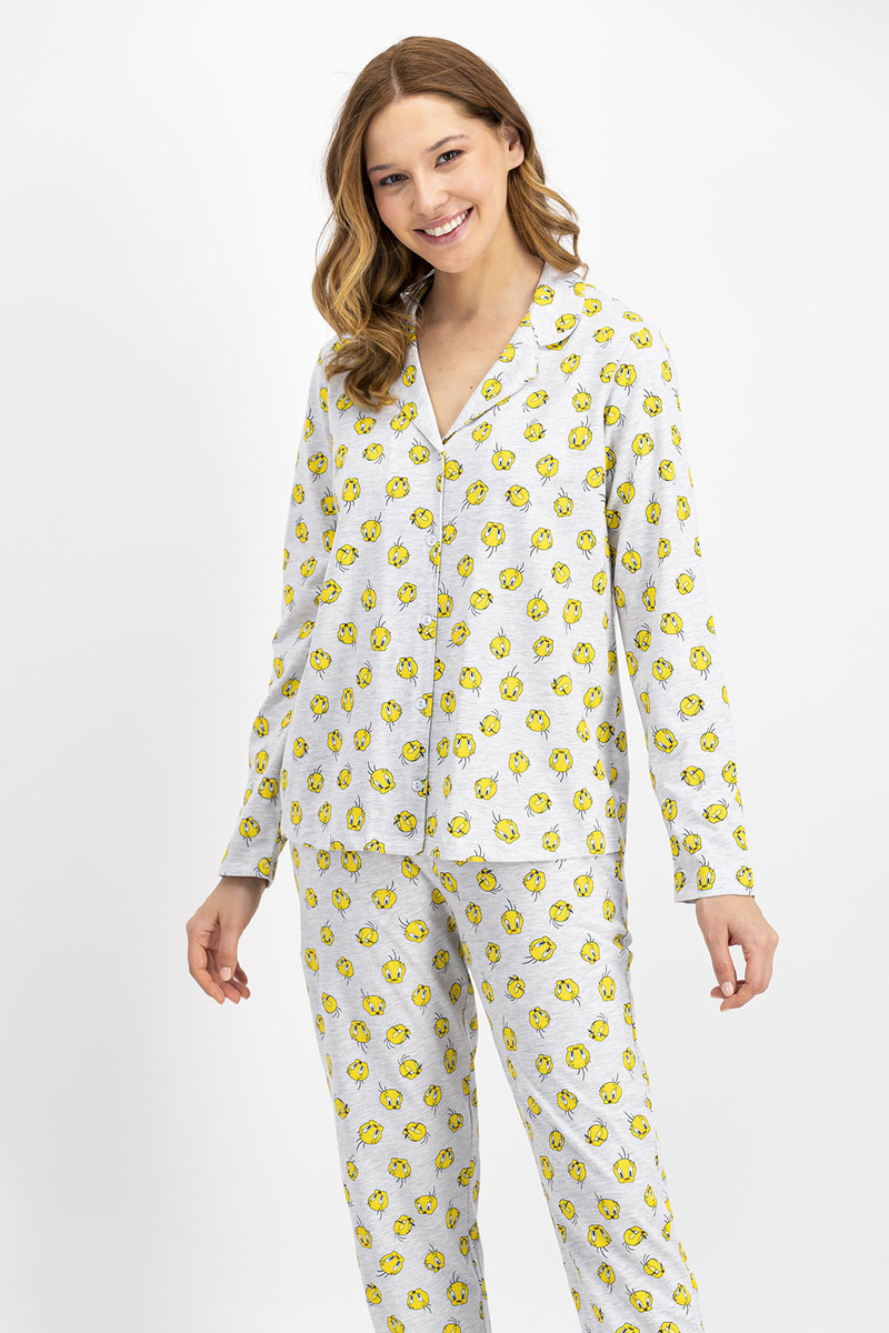 Tweety - Tweety Lisanslı Gri Kadın Düğmeli Gömlek Pijama Takımı (1)