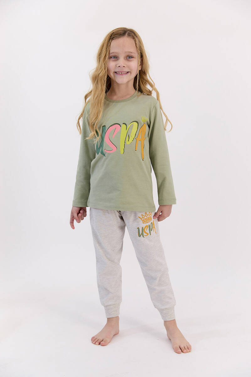 U.S. Polo Assn - U.S. Polo Assn Açık Haki Kız Çocuk Eşofman Takımı (1)