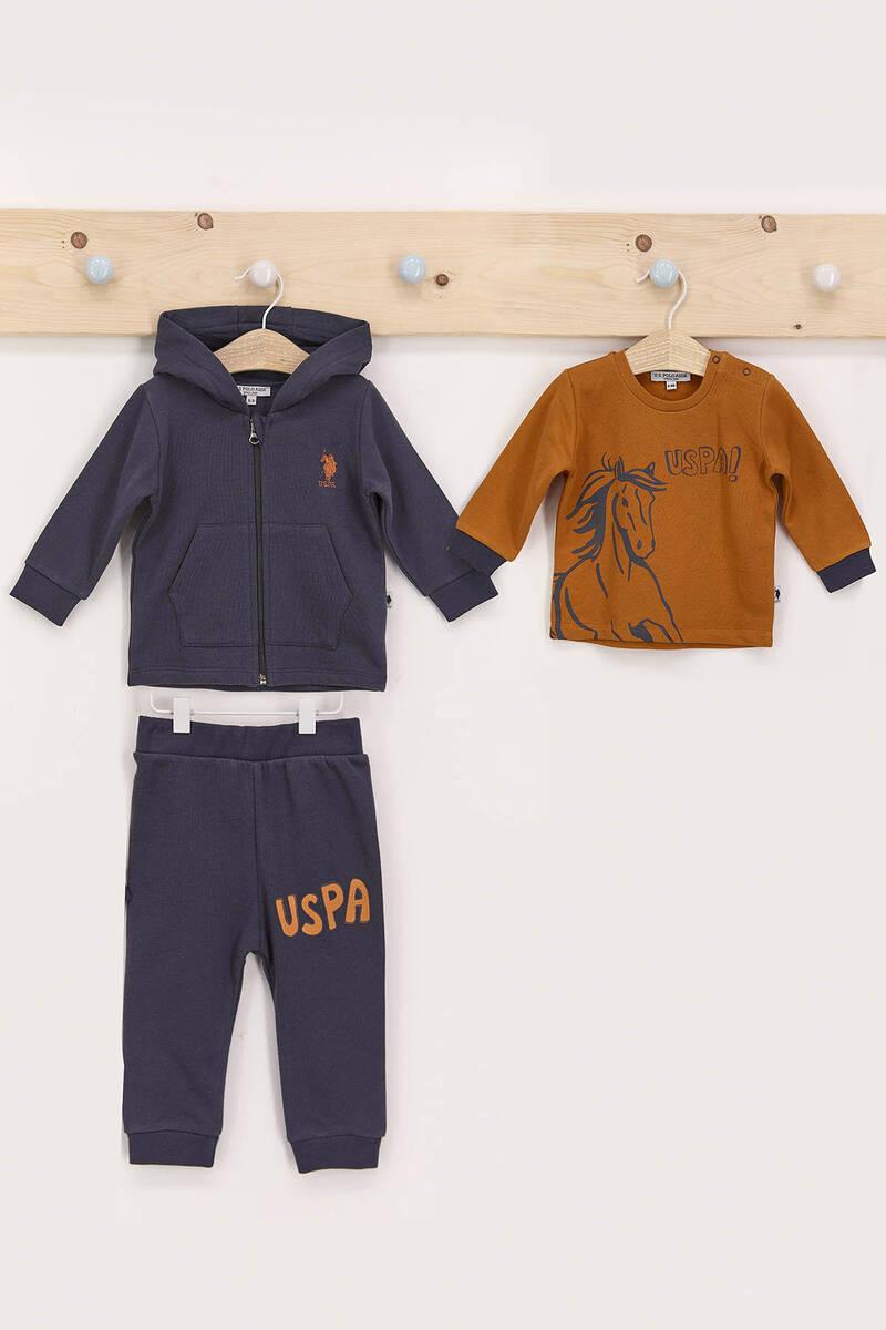 U.S. Polo Assn - U.S. Polo Assn Antrasit Erkek Bebek 3'Lü Eşofman Takımı