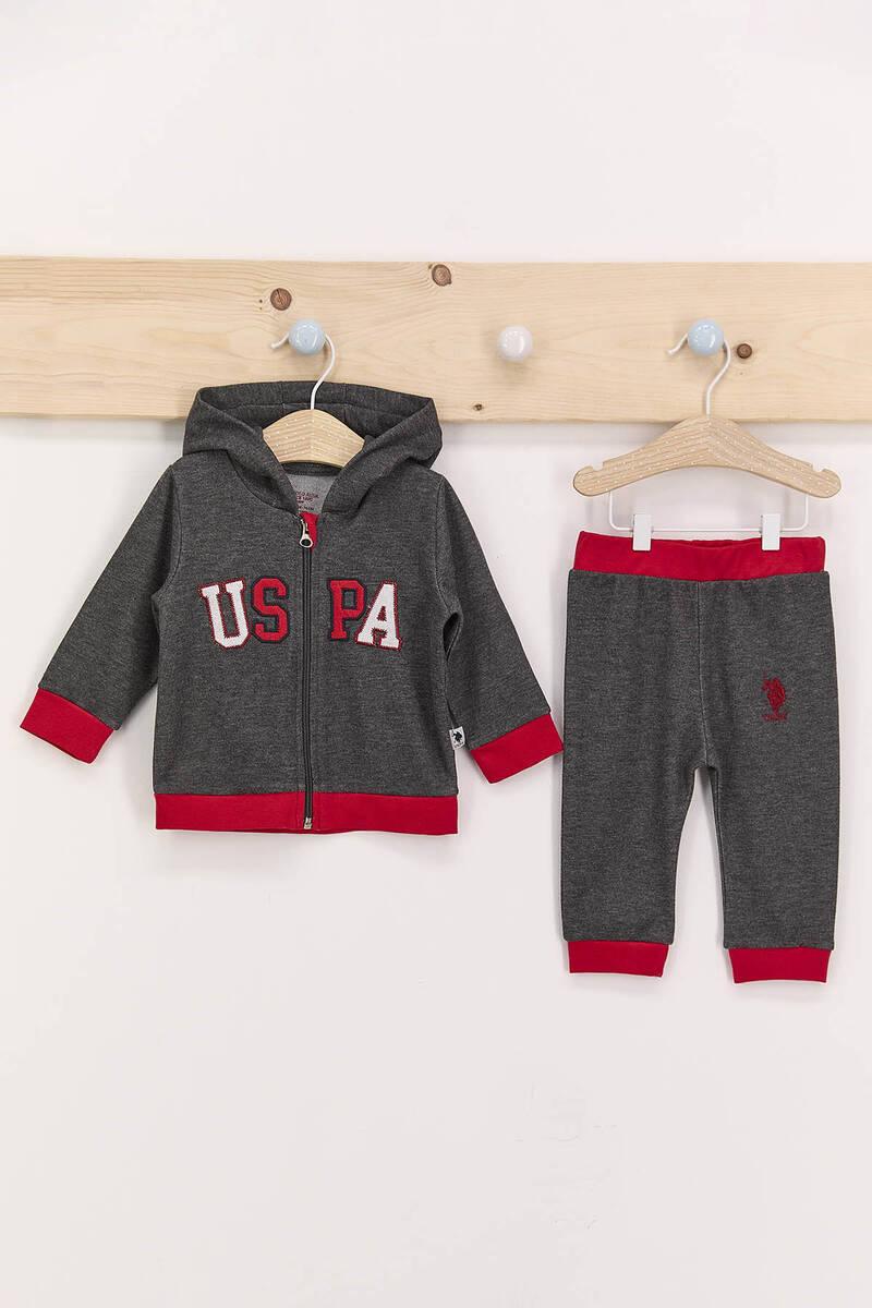 U.S. Polo Assn - U.S. Polo Assn Antrasit Erkek Bebek Kapşonlu Takım
