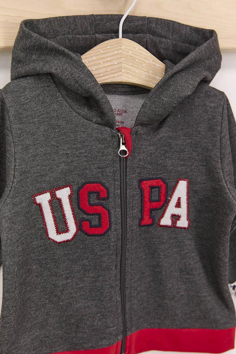 U.S. Polo Assn - U.S. Polo Assn Antrasit Erkek Bebek Kapşonlu Takım (1)