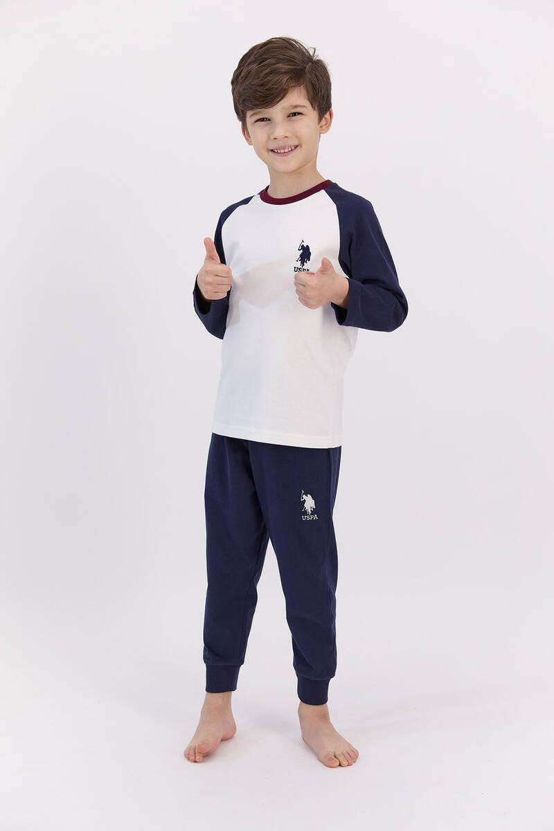 U.S. Polo Assn - U.S. Polo Assn Basic Krem Erkek Çocuk Pijama Takımı