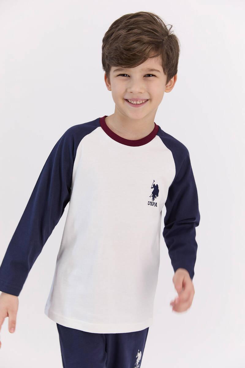 U.S. Polo Assn - U.S. Polo Assn Basic Krem Erkek Çocuk Pijama Takımı (1)