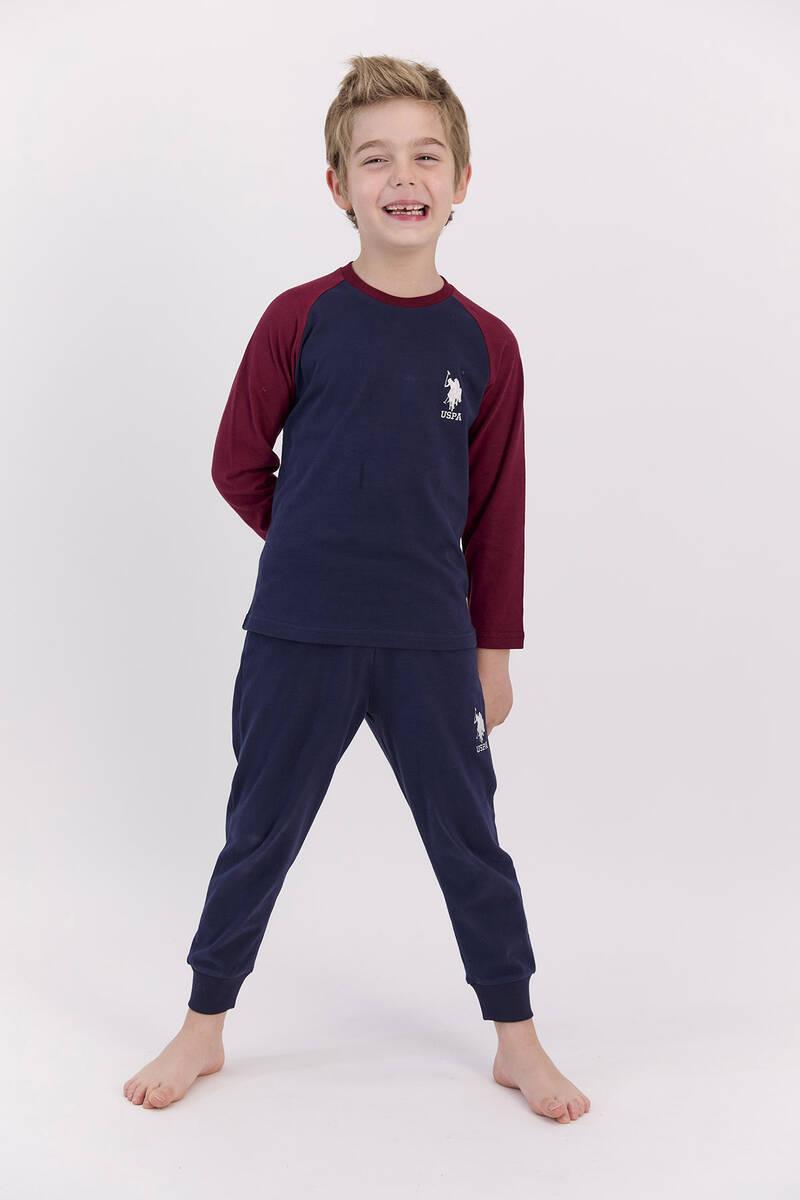 U.S. Polo Assn - U.S. Polo Assn Basic Lacivert Erkek Çocuk Pijama Takımı